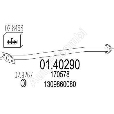 Rúra výfuku Fiat Ducato, Boxer 230 L=1170 mm