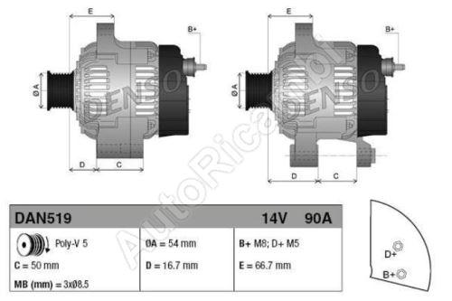 Alternator Fiat Fiorino 2007> 1.3 MJTD/ Doblo 2005>