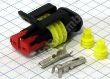 Vodotesný konektor 2-pin - obal + 2 dutinky + gumičky