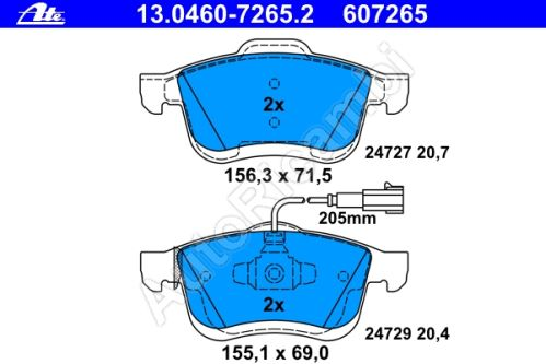 "Brake pads Fiat Doblo 2010 front ATE ""specific"""