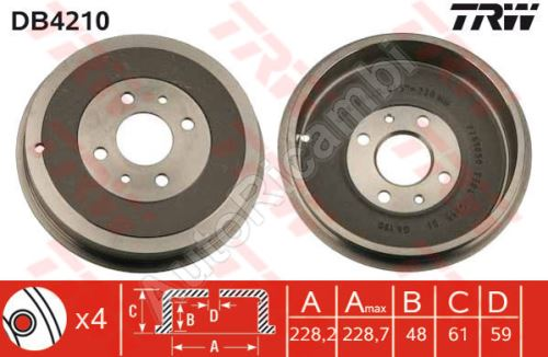 Brake drum Fiat Doblo 2000-09 rear