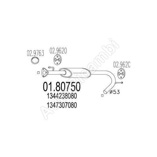 Tlmič výfuku Fiat Ducato 244 / Boxer / Jumper 00-06 stredný