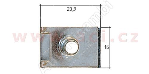 Metal clip with inner thread M6