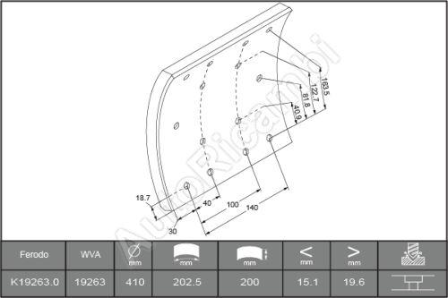 Brake linings Iveco Eurotech 190E34